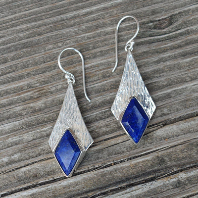 large lapis lazuli and sterling silver dangle earrings