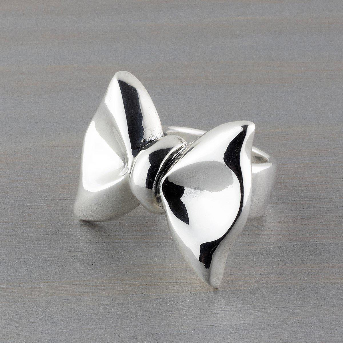 large sterling silver bow ring
