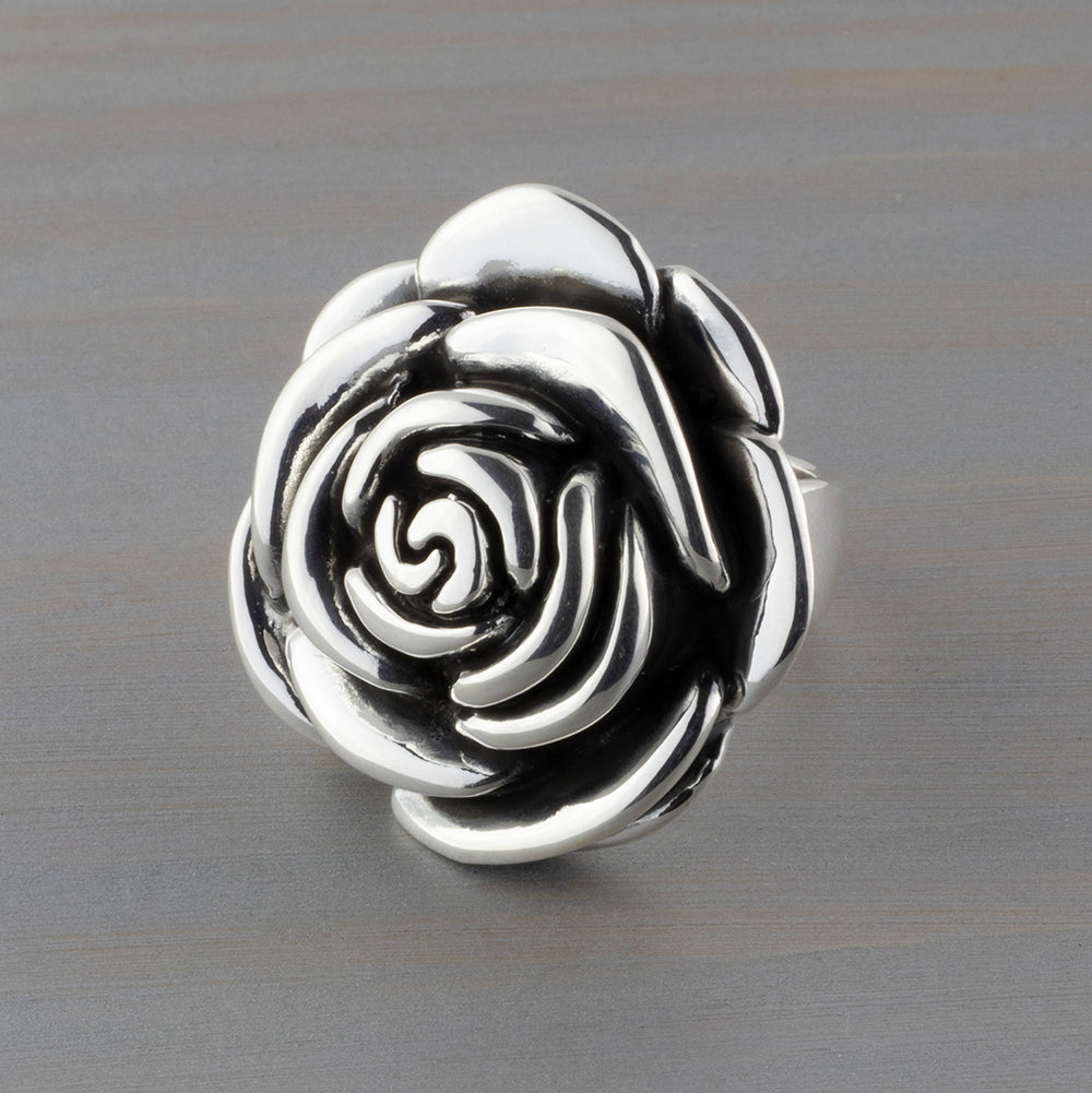 large sterling silver rose flower ring