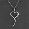 open heart sterling silver pendant necklace
