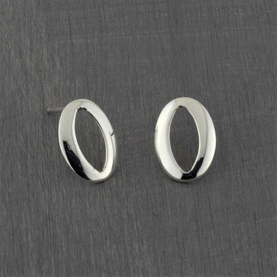 oval sterling silver stud earrings
