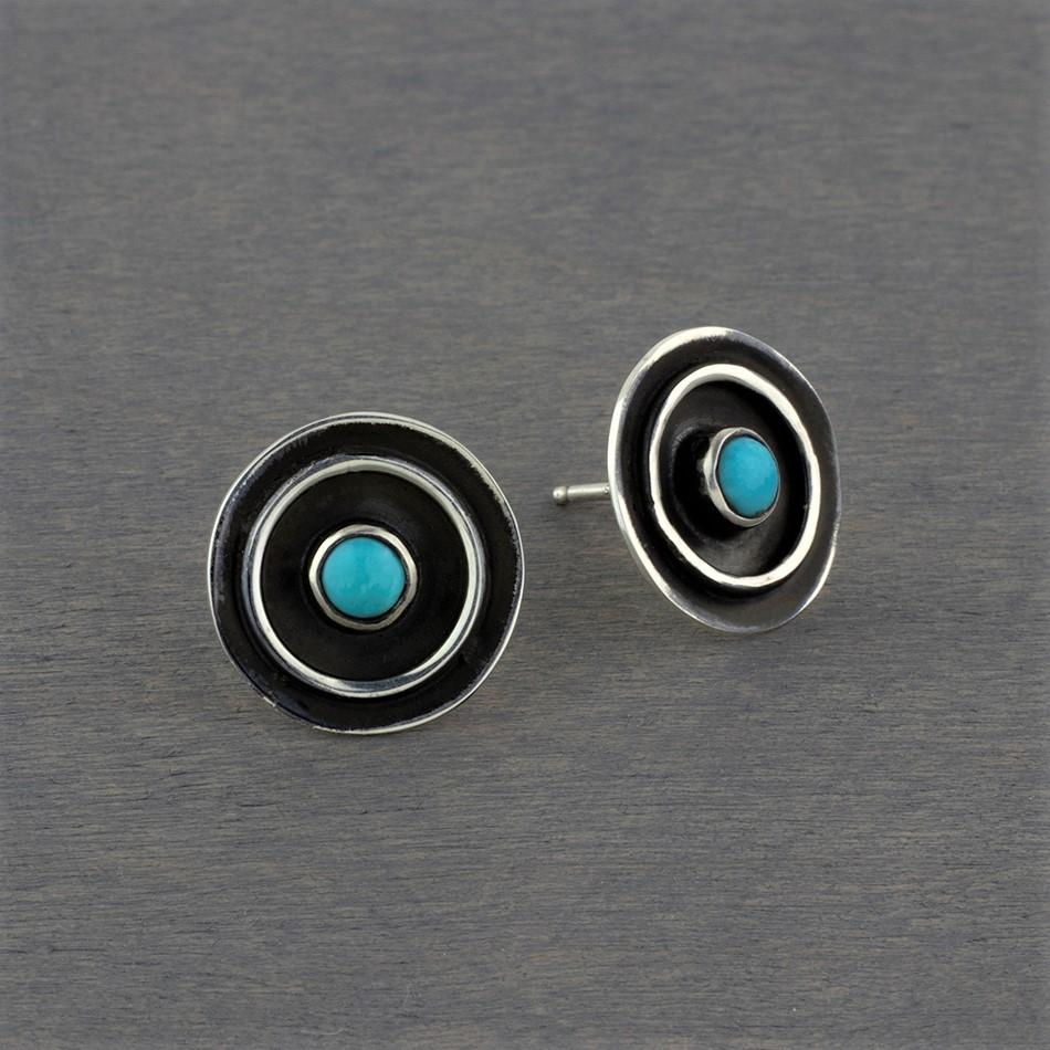 oxidized silver and turquoise artisan stud earrings