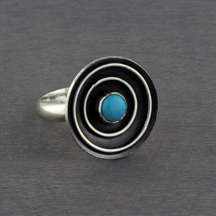 oxidized silver and turquoise artisan ring