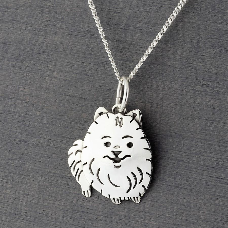 pomeranian sterling silver pendant necklace