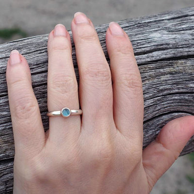 Simple Blue Topaz Ring in Sterling Silver