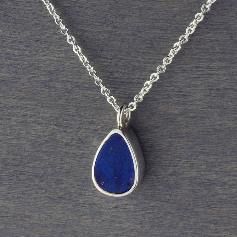 small lapis lazuli sterling silver pendant necklace