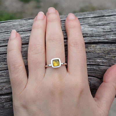 simple amber ring in sterling silver