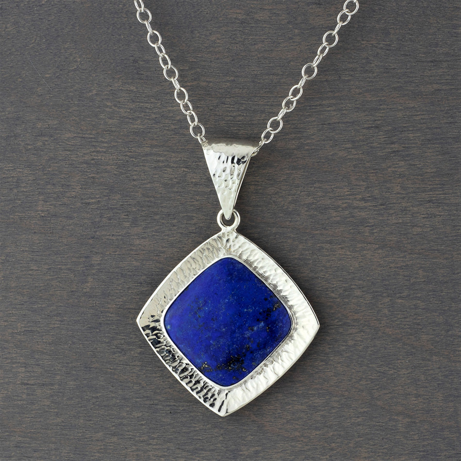 sterling silver and lapis lazuli pendant necklace