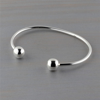 sterling silver cuff bracelet with ball ends