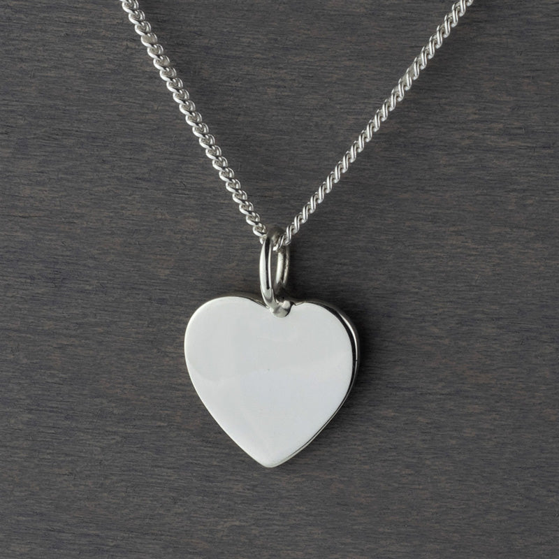 sterling silver flat heart pendant necklace