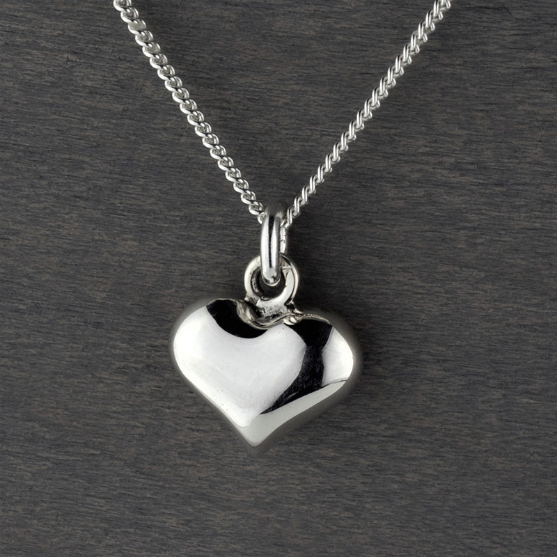 sterling silver small puffy heart pendant necklace