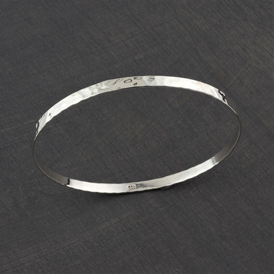 thin hammered sterling silver bangle