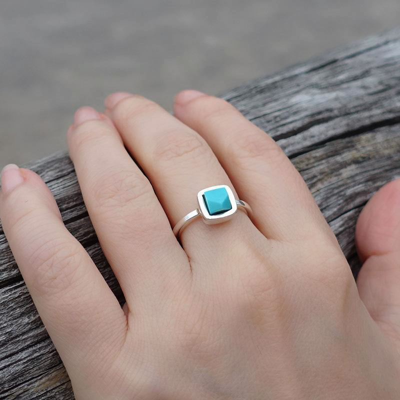Large natural turquoise sterling silver ring