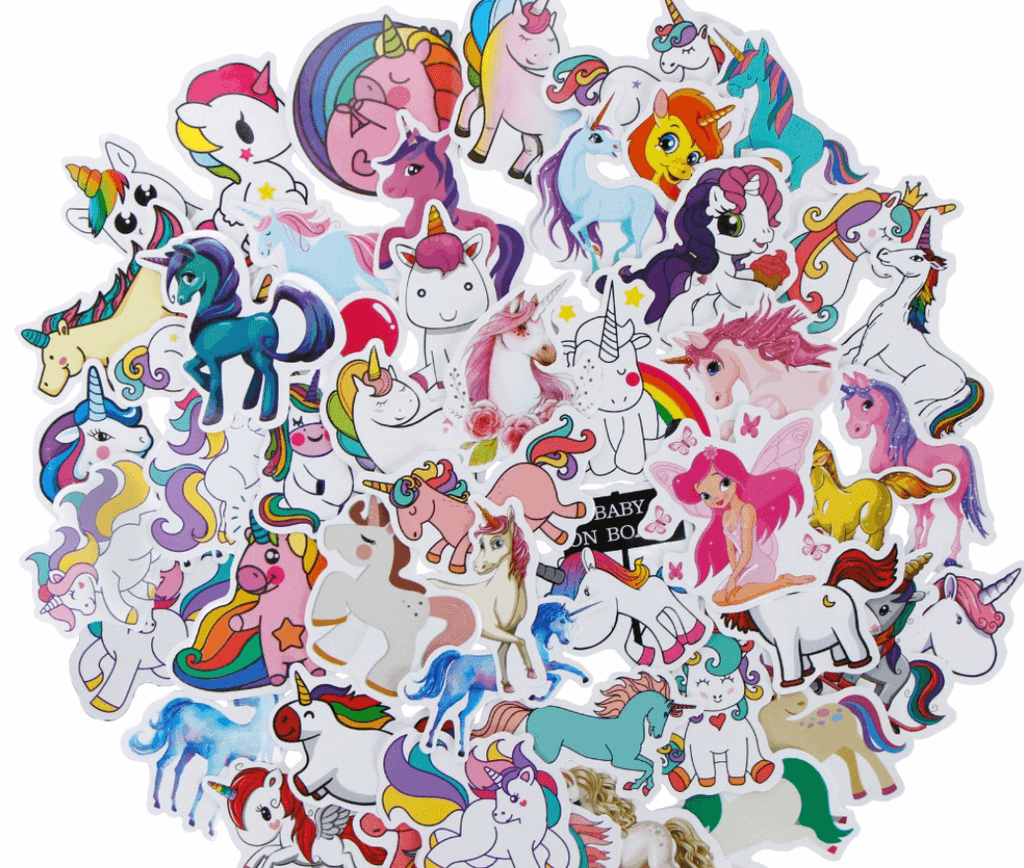 Cute Animal Stickers. Unicorn Stickers Bulk. Geometric Stickers. (35 or 50 Count)