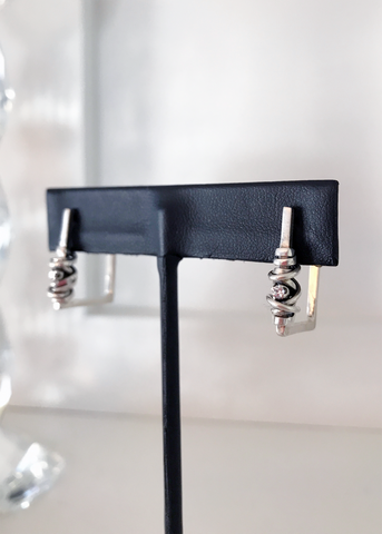 Square Coil & Stone Earrings