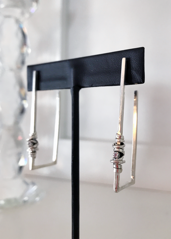 Rectangle Coil & Stone Earrings