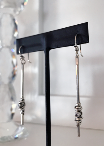 Long Coil & Stone Hook Earrings