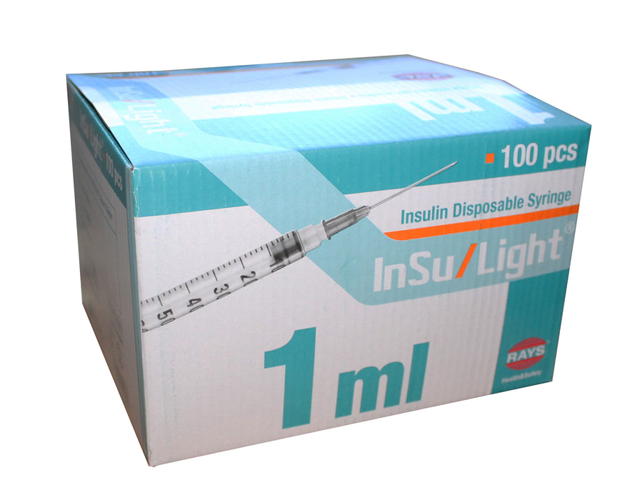 "box of 100 1ml syringe with needle hypodermic injection 1/2"" inch"