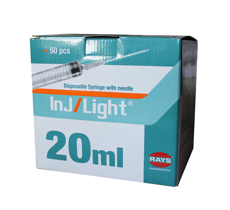 "Rays InJ/Light 20ml Syringe With 20G Hypodermic Needle 1, 1/2"" inch"