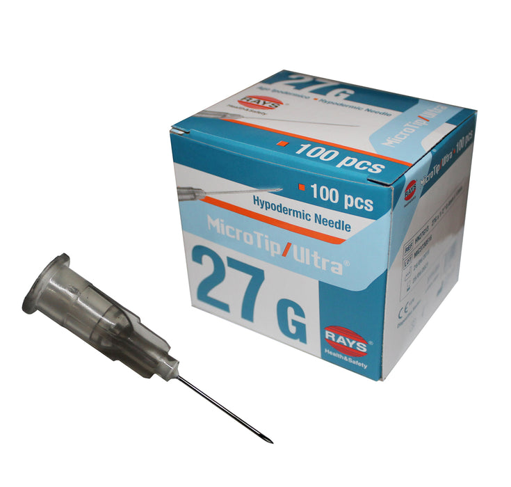 "Rays 27g x 0.5"" inch hypodermic needle grey box of 100"