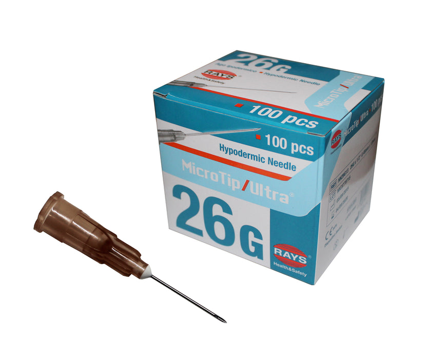 "RayMed Rays MicroTip Ultra 26g x 1.5"" Brown hypodermic needle box of 100"