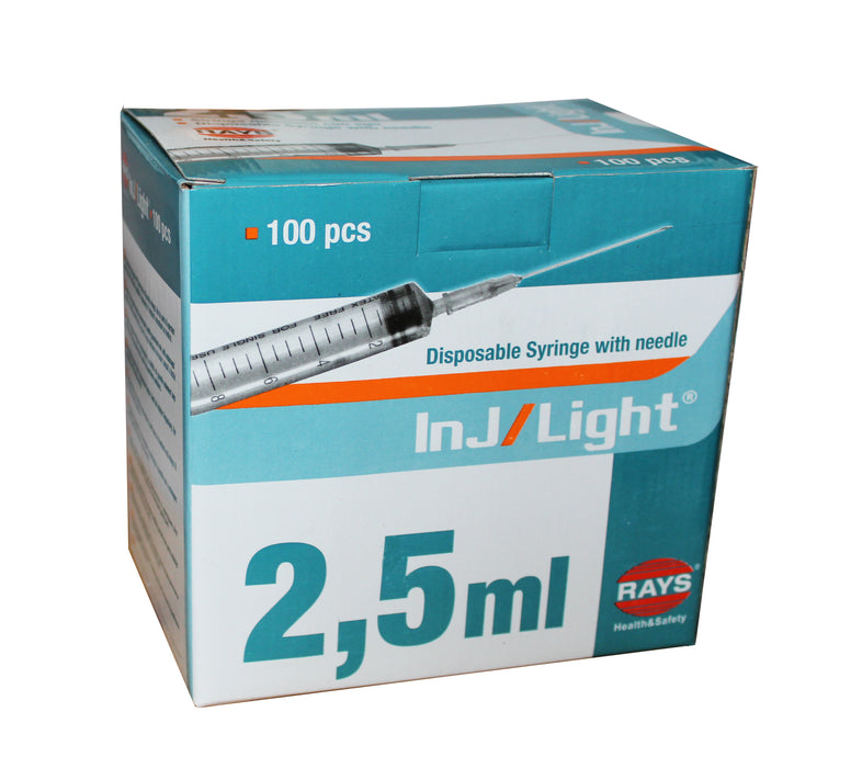 Rays InJ/Light 2.5ml Syringe With 21G Hypodermic Needle box of 100 for sale
