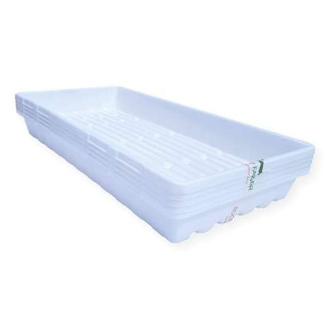 1020 Trays White Extra Strength - 10 Pack No Hole - Seed Starter Flats for Fodder, Microgreen, Seedling Propagation Growing