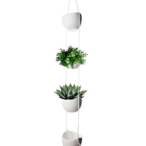 4-Tier Hanging Plant Holder, White Ceramic Planters for Wall & Ceiling, Decorative Planter Pots Outdoor & Indoor Use, Succulent Wall Planters, Macrame Hanging Plant Pots, White Bowl Pots for Plants