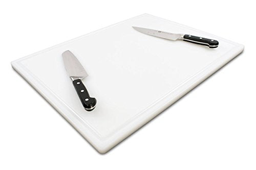 Commercial Plastic Carving Board with Groove, NSF Certified, HDPE Poly (24 x 18 x 0.75 Inch, White)