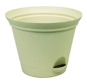Misco Modern Round Flared Self-Watering Planter with Ventilated Base, 11-Inch Diameter, Latte
