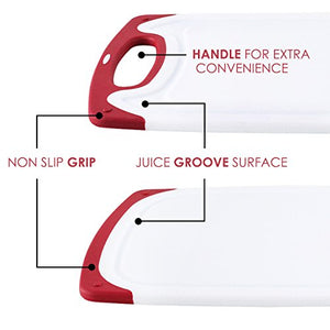 Chef Grids Durable Plastic Cutting Board Set 3 Piece Chopping Board Thick Plastic for Vegetable Meat or Cheese with Non-Slip Feet and Handles Deep Drip Juice Groove | Dishwasher Safe | Plus Knife Red