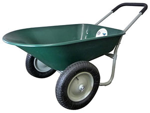 Marathon Dual-Wheel Residential Yard Rover Wheelbarrow and Yard Cart - Green