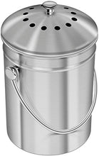 Load image into Gallery viewer, Utopia Kitchen Stainless Steel Compost Bin for Kitchen Countertop - 1.3 Gallon Compost Bucket Kitchen Pail Compost with Lid - Includes 1 Spare Charcoal Filter