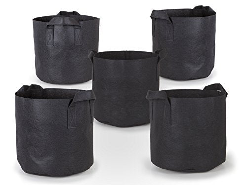 247Garden 5-Pack 10 Gallon Grow Bags/Aeration Fabric Pots w/Handles (Black)