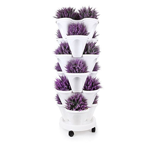 T4U Stackable Vertical Planter Garden Pot with Caddy - 6 Tier Set, for Growing Strawberries Herbs Vegetables Flower Plant Indoor Outdoor Gardening Tower Trio Stacking Pot Porch Gate Wedding Decoration