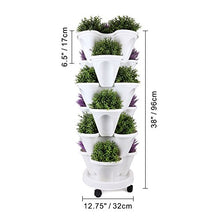Load image into Gallery viewer, T4U Stackable Vertical Planter Garden Pot with Caddy - 6 Tier Set, for Growing Strawberries Herbs Vegetables Flower Plant Indoor Outdoor Gardening Tower Trio Stacking Pot Porch Gate Wedding Decoration