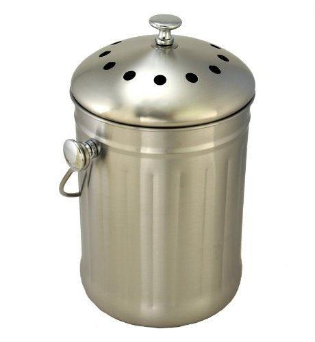 Brushed Stainless Steel Compost Pail & Indoor Kitchen Bin