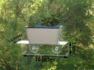 H4 Multi-Use Suction Cup Window Shelf- Design an Indoor Garden, Ledge for Succulents, Flowers or Herbs. Other Solutions Include a Spice Rack or Bathroom Mirror Shelf. Plants/Planters NOT Included.