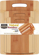 Load image into Gallery viewer, Utopia Kitchen Bamboo Cutting Board 3 Piece Set - Extra Durable - Better Than Ordinary Wood Cutting Boards - Large, Medium and Small Bamboo Cutting Boards for Bread, Vegetables, Chicken