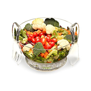 High Quality Salad Bowl On Ice with dividers and utensils - Portable Fruit and Vegetable Bowl That is Sure to Last Long - Ideal Gift Idea By VeBo