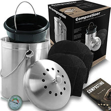 Load image into Gallery viewer, Compostizer Introducing Stainless Steel 1.3 Gal Kitchen Compost Bin Kit, Unique Inner Bucket, Special e-Vent Technology, Double Carbon Filters, Paperback Book, Composting Thermometer,4 Double Filters