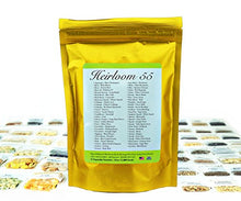 Load image into Gallery viewer, Heirloom Seed Bank with 55 Varieties of Vegetable seeds by Heirloom Futures. 100% NON GMO Open Pollinated Non-Hybrid Naturally Grown Premium USA Seed Stock for All Gardeners.