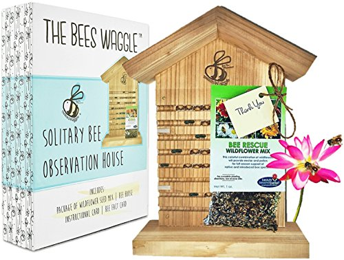 Mason Bee House - Crack'n Special $25 Off - Viewing Window, Wildflower Seeds, Guide - Wooden Block Nesting Tray Tubes Set - Wild Native Solitary Bees Unique Gardening Gifts for Women Men Mom Dad Gift