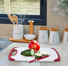 Load image into Gallery viewer, Chef Grids Durable Plastic Cutting Board Set 3 Piece Chopping Board Thick Plastic for Vegetable Meat or Cheese with Non-Slip Feet and Handles Deep Drip Juice Groove | Dishwasher Safe | Plus Knife Red