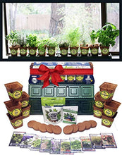 Load image into Gallery viewer, Windowsill Herb Garden Kit, Herb Planter Comes Complete with a 10 Variety Non GMO Heirloom Herb Seed Collection & Herb Pots.