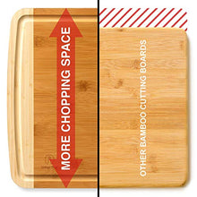"Load image into Gallery viewer, Indigo True Bamboo Cutting Board - Extra Large 17.5"" x 13.5"" Built-in Deep Drip Juice Groove"