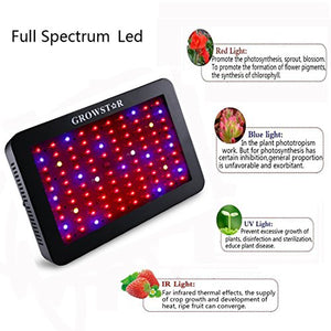 Growstar 1000W LED Grow Light, Double Chips LED Grow Lamp Full Spectrum for Hydroponic Indoor Plants Flower and Veg with UV IR Daisy Chain