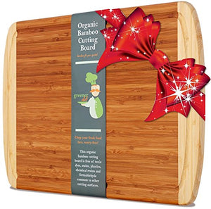 Extra Large Organic Bamboo Cutting Board for Kitchen - NEW CRACK-FREE DESIGN - Best Wood Chopping Boards w/ Juice Groove for Carving Meat, Wooden Butcher Block for Vegetables & Serving Tray for Cheese