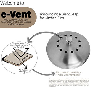 Compostizer Introducing Stainless Steel 1.3 Gal Kitchen Compost Bin Kit, Unique Inner Bucket, Special e-Vent Technology, Double Carbon Filters, Paperback Book, Composting Thermometer,4 Double Filters
