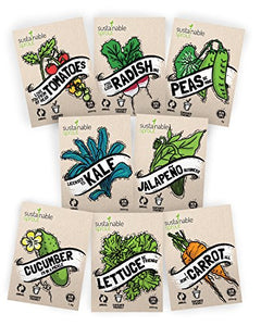 "Vegetable Seeds Heirloom""SillySeed"" Collection - 100% Non GMO. Veggie Garden Variety Pack: Tomato, Cucumber, Lettuce, Kale, Radish, Peas, Carrot, Jalapeno Pepper"